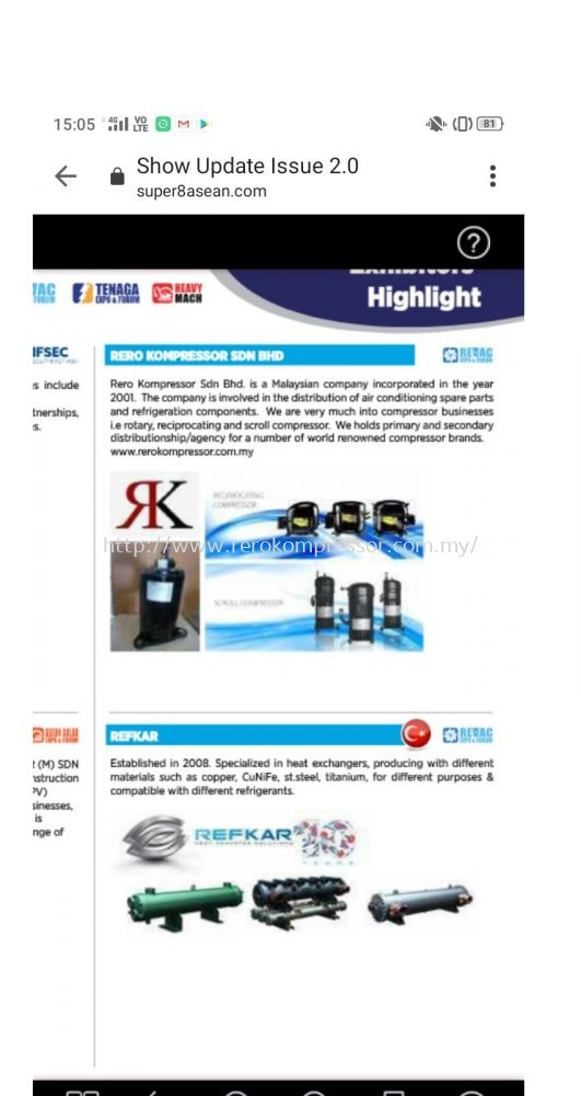 RERO KOMPRESSOR SDN BHD'S PARTICIPATION AT THE COMING REVAC 2020( SHOW UPDATE ISSUE 2.0)