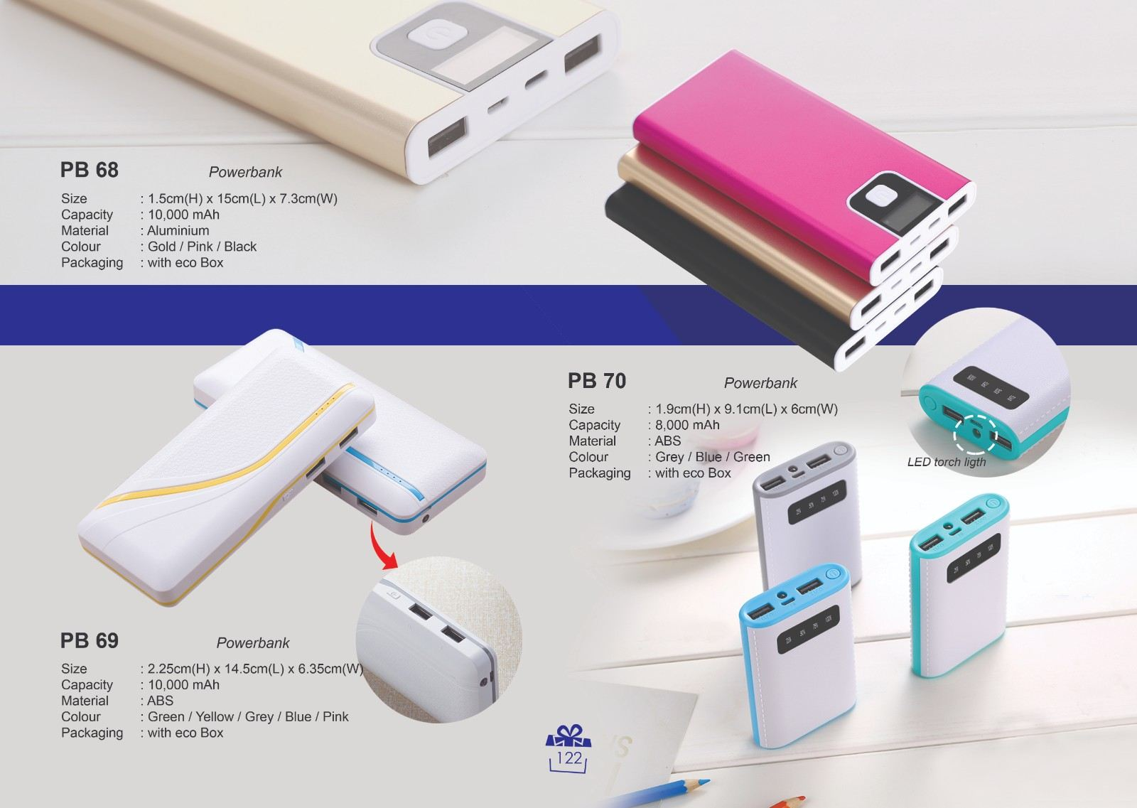 PB 68, PB 69 & PB 70 Powerbank