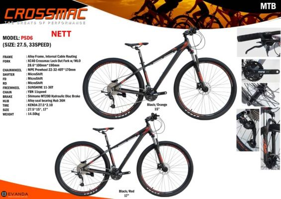 Crossmac PSD6 27.5 MTB 33 SPEEDS Microshift  XDS Alloy Frame