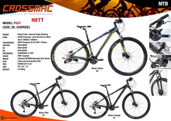 Crossmac PSD7  29IN  MTB 33 SPEEDS Microshift , XDS Alloy  Frame