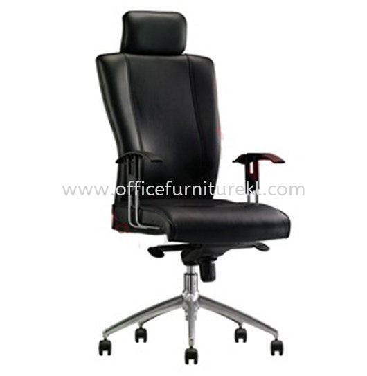 DR1 DIRECTOR HIGH BACK LEATHER CHAIR WITH ALUMINIUM BASE