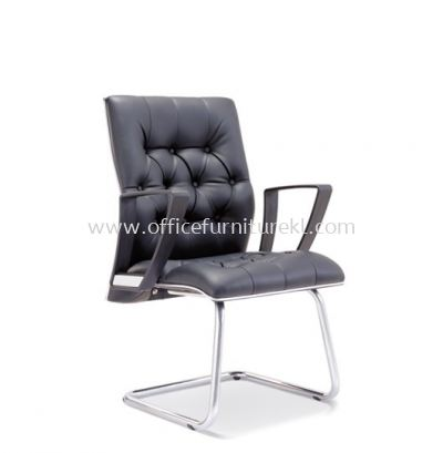 ZYRON DIRECTOR VISITOR LEATHER CHAIR WITH CHROME TRIMMING LINE