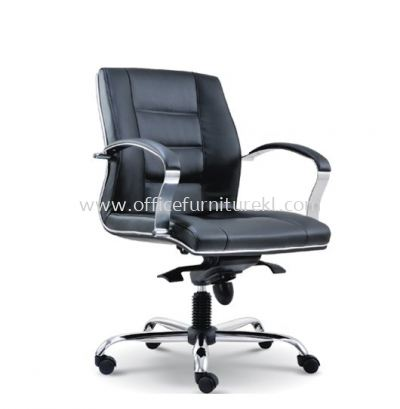 CITRUS DIRECTOR LOW BACK LEATHER CHAIR WITH CHROME TRIMMING LINE