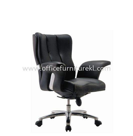 SPRING DIRECTOR LOW BACK LEATHER ARM CHAIR WITH ALUMINIUM DIE-CAST BASE