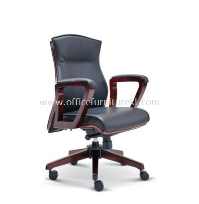 EMILY DIRECTOR LOW BACK LEATHER CHAIR WITH WOODEN TRIMMING LINE