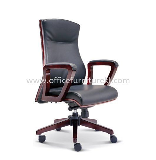 BRAVO DIRECTOR MEDIUM BACK LEATHER CHAIR WITH WOODEN TRIMMING LINE