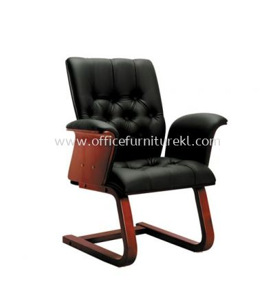 ARISAL DIRECTOR VISITOR LEATHER CHAIR WITH RUBBER-WOOD WOODEN CANTILEVER BASE