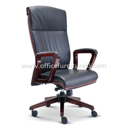 FLORA DIRECTOR HIGH BACK LEATHER CHAIR WITH WOODEN TRIMMING LINE