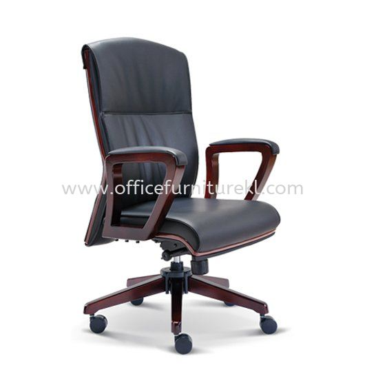 FLORA DIRECTOR MEDIUM BACK LEATHER CHAIR WITH WOODEN TRIMMING LINE