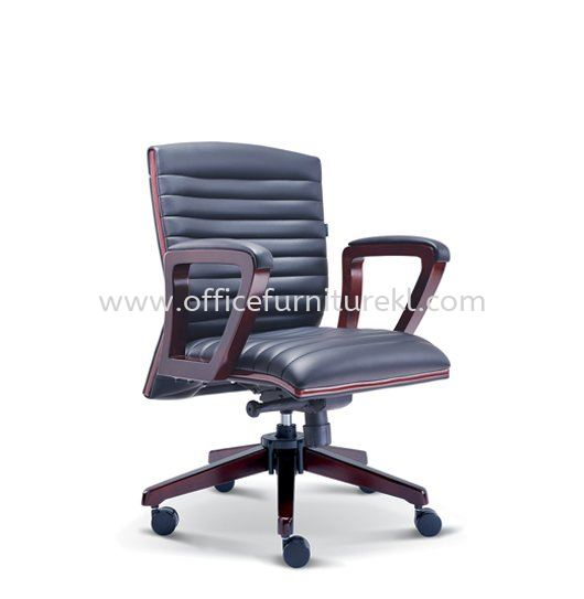 STONOR DIRECTOR LOW BACK LEATHER CHAIR WITH RUBBER-WOOD WOODEN BASE