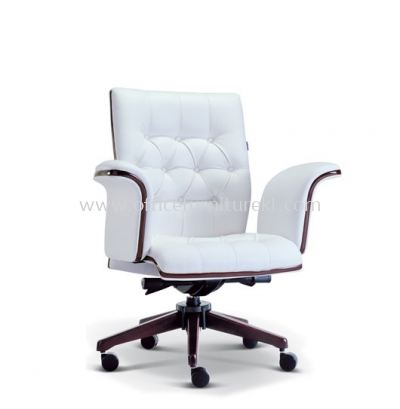 PARAGON DIRECTOR LOW BACK LEATHER CHAIR WITH WOODEN TRIMMING LINE ASE 2183