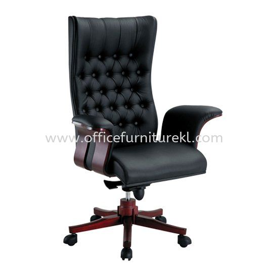 LACOSTA DIRECTOR HIGH BACK LEATHER CHAIR WITH RUBBER-WOOD WOODEN BASE