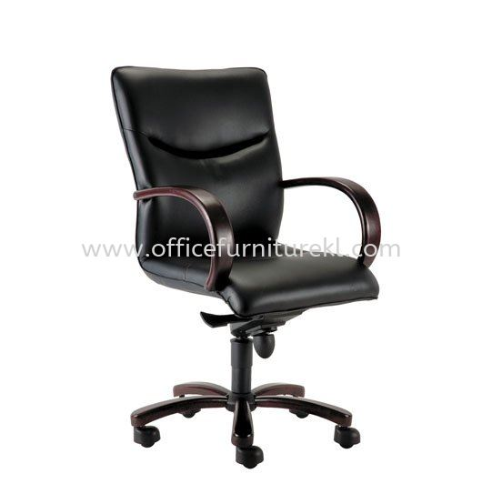 LAMIS DIRECTOR MEDIUM BACK LEATHER CHAIR C/W RUBBER-WOOD WOODEN ROCKET BASE ACL 3001