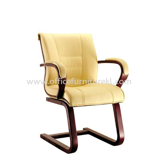 PARC2 DIRECTOR VISITOR LEATHER CHAIR C/W WOODEN TRIMMING LINE