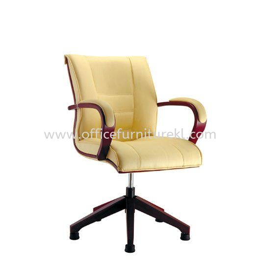 PARC2 LOW BACK LEATHER CHAIR C/W WOODEN BASE ACL 1044 (AUTO-RETURN)