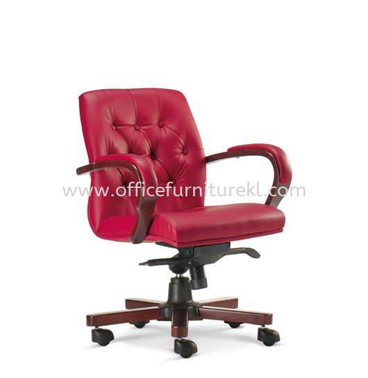 URBAN DIRECTOR LOW BACK LEATHER CHAIR WITH RUBBER-WOOD WOODEN BASE