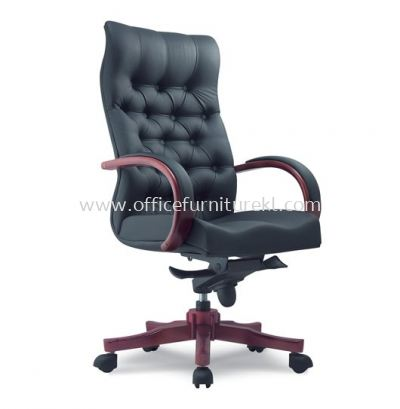 DORSET DIRECTOR HIGH BACK LEATHER CHAIR WITH RUBBER-WOOD WOODEN BASE