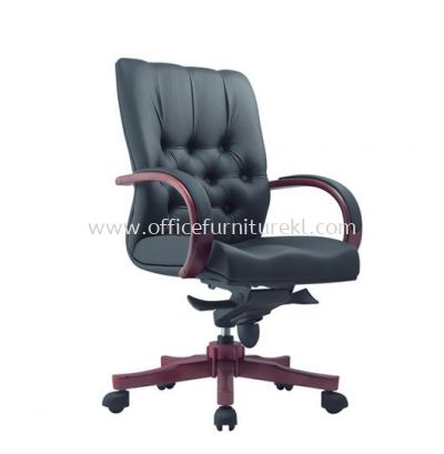 DORSET DIRECTOR MEDIUM BACK LEATHER CHAIR WITH RUBBER-WOOD WOODEN BASE