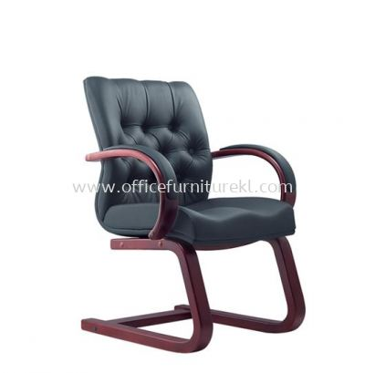 DORSET DIRECTOR VISITOR LEATHER CHAIR WITH RUBBER-WOOD WOODEN CANTILEVER BASE