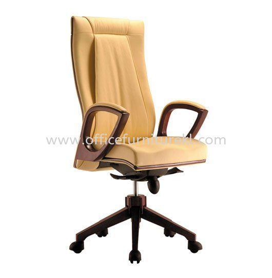 JESSI DIRECTOR HIGH BACK LEATHER CHAIR WITH WOODEN TRIMMING LINE