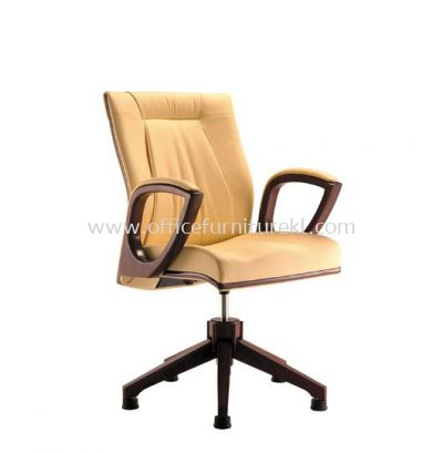 JESSI DIRECTOR LOW BACK LEATHER CHAIR C/W WOODEN BASE ACL 6044(AUTO-RETURN)