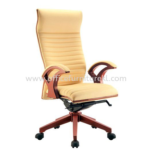 ZINGER II DIRECTOR HIGH BACK LEATHER CHAIR C/W WOODEN TRIMMING LINE