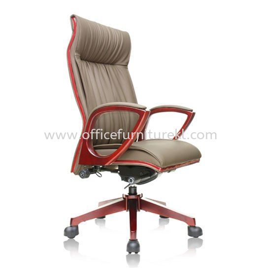 VITTA2 DIRECTOR HIGH BACK LEATHER CHAIR C/W WOODEN TRIMMING LINE