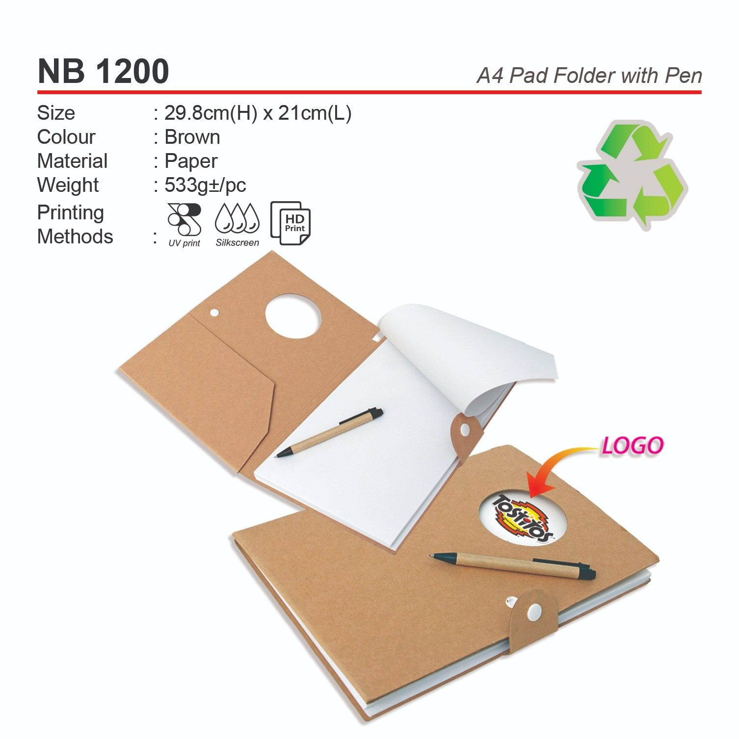 NB 1200 A4 Pad Folder with Pen