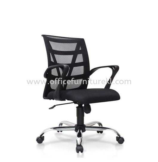 CASAO LOW BACK ERGONOMIC MESH CHAIR WITH CHROME METAL BASE