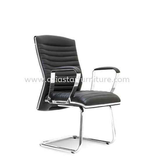 ZICA DIRECTOR OFFICE VISITOR LEATHER CHAIR WITH CHROME TRIMMING LINE