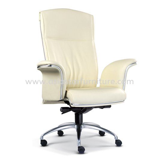 LEADER DIRECTOR HIGH BACK LEATHER OFFICE CHAIR WITH CHROME TRIMMING LINE - director office chair damansara perdana | director office chair damansara mutiara | director office chair selayang
