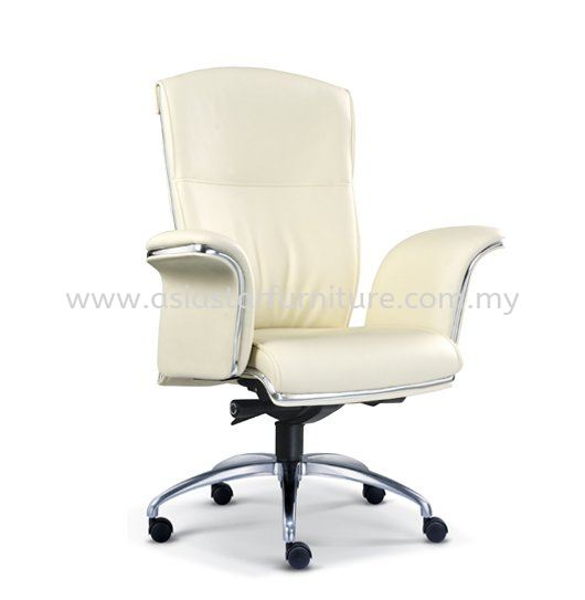 LEADER DIRECTOR MEDIUM BACK LEATHER OFFICE CHAIR WITH CHROME TRIMMING LINE - director office chair dataran sunway | director office chair sunway damansara | director office chair batu caves