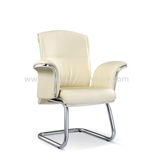 LEADER DIRECTOR VISITOR LEATHER OFFICE CHAIR WITH CHROME TRIMMING LINE - director office chair kota damansara   director office chair kwasa damansara   director office chair taman melawati