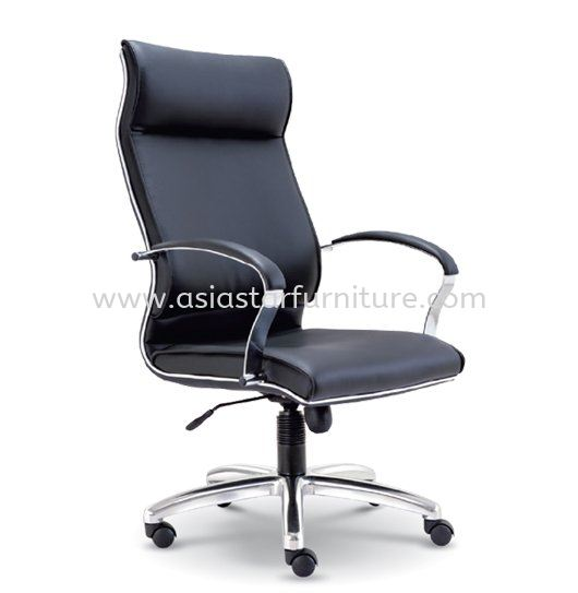 CONTI DIRECTOR HIGH BACK LEATHER OFFICE CHAIR WITH CHROME TRIMMING LINE - director office chair hicom glenmarie shah alam | director office chair ttdi jaya | director office chair megan avenue