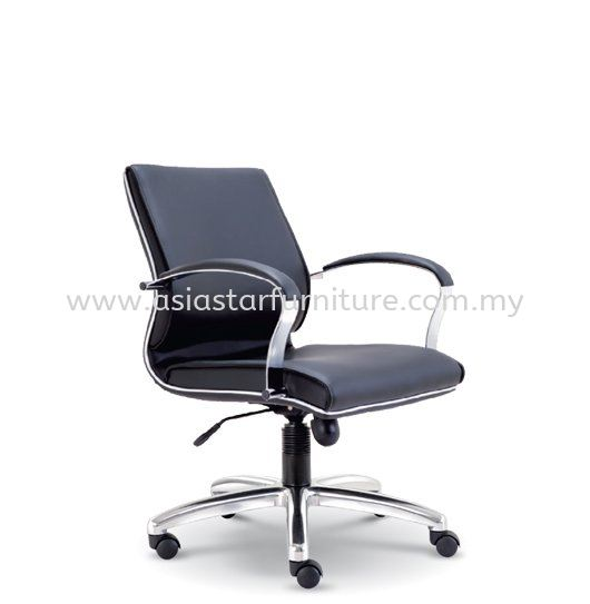 CONTI DIRECTOR LOW BACK LEATHER CHAIR WITH CHROME TRIMMING LINE