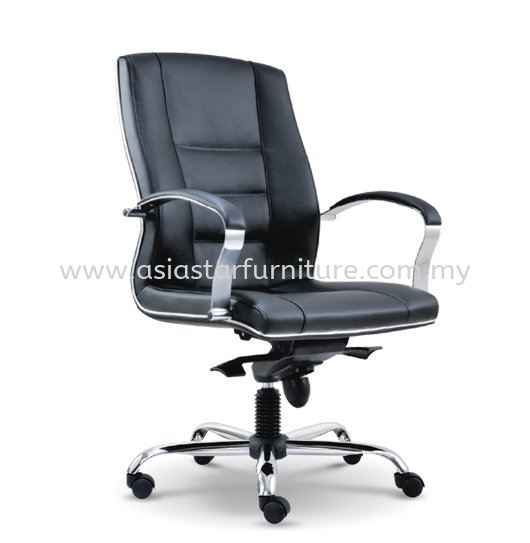 CITRUS DIRECTOR MEDIUM BACK LEATHER OFFICE CHAIR WITH CHROME TRIMMING LINE - director office chair bandar puteri puchong | director office chair icon city pj | director office chair jalan ceylon