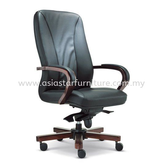 MERCU DIRECTOR HIGH BACK LEATHER OFFICE CHAIR WITH RUBBER-WOOD WOODEN BASE- wooden director office chair damansara perdana | wooden director office chair damansara mutiara | wooden director office chair sentul