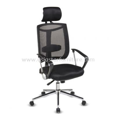 JENKAL HIGH BACK MESH CHAIR WITH CHROME BASE & BACK SUPPORT-AJK-C1