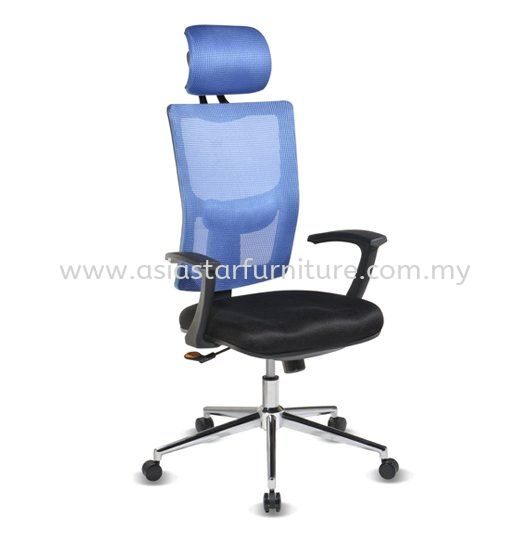 MELBY HIGH BACK MESH OFFICE CHAIR WITH CHROME BASE & BACK SUPPORT-mesh office chair klcc | mesh office chair the linc kl | mesh office chair jalan binjai