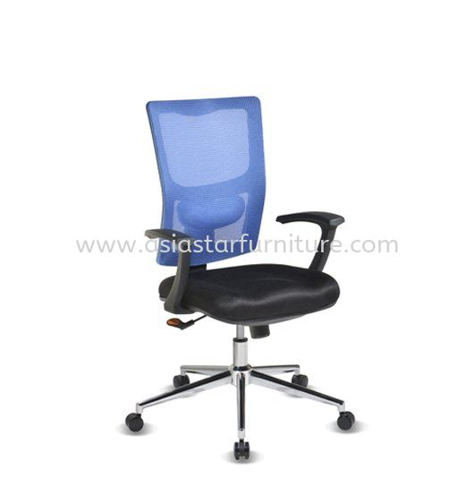 MELBY LOW BACK MESH OFFICE CHAIR WITH CHROME BASE & BACK SUPPORT-mesh office chair puncak kiara | mesh office chair sri hartamas | mesh office chair publika