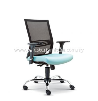 RELEASE LOW BACK MESH CHAIR WITH ADJUSTABLE COMBINATION CHROME & PP ARMREST ASE-2612