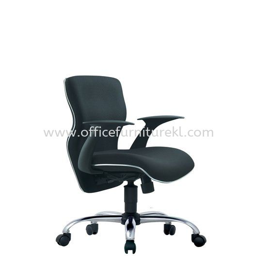 REGIS(A) EXECUTIVE LOW BACK FABRIC ARM CHAIR WITH CHROME TRIMMING LINE