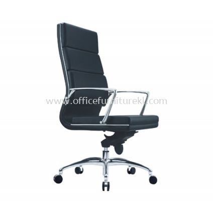 QUODRO (B) EXECUTIVE HIGH BACK LEATHER CHAIR WITH CHROME TRIMMING LINE