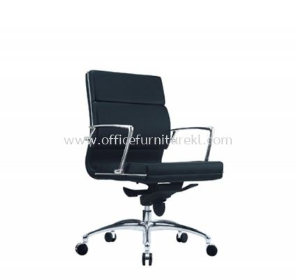 QUODRO (B) EXECUTIVE LOW BACK LEATHER CHAIR WITH CHROME TRIMMING LINE