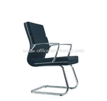 QUODRO (B) EXECUTIVE VISITOR LEATHER CHAIR WITH CHROME TRIMMING LINE
