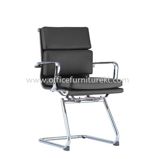 SEFINA(P1) EXECUTIVE VISITOR LEATHER CHAIR WITH CHROME BODY FRAME