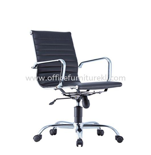 SEFINA(R1) EXECUTIVE LOW BACK LEATHER CHAIR WITH CHROME BODY FRAME