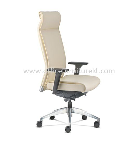 PEGASO EXECUTIVE HIGH BACK LEATHER CHAIR C/W ALUMINIUM DIE-CAST BASE PG-1L