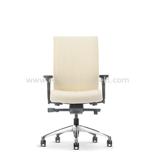 PEGASO EXECUTIVE MEDIUM BACK LEATHER CHAIR C/W ALUMINIUM DIE-CAST BASE PG-2L