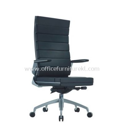 TREND EXECUTIVE HIGH BACK LEATHER CHAIR WITH CHROME TRIMMING LINE